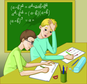 teacher with student vector