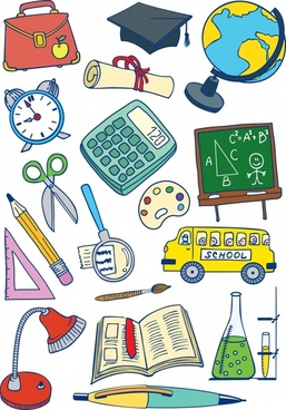 education design elements colorful handdrawn tools sketch