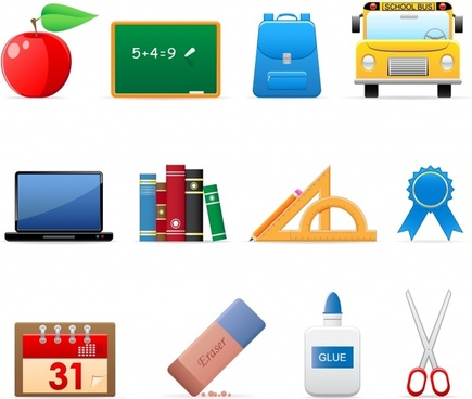school design elements colorful modern symbols sketch