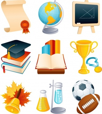educational icons modern 3d symbols sketch