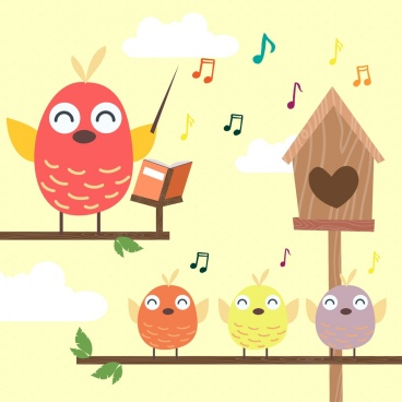 teaching background stylized birds icons colored cartoon
