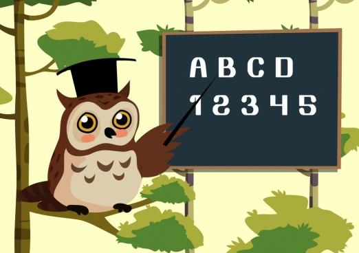 teaching background stylized owl blackboard icons colored cartoon