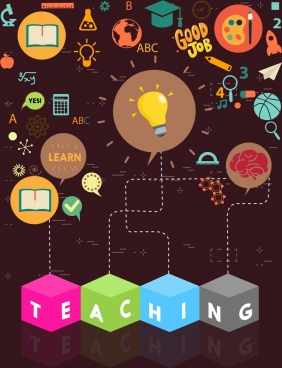 teaching concept background various colored symbols decoration