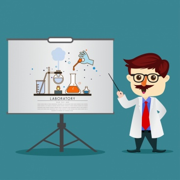teaching theme chemistry subject teacher icon cartoon design