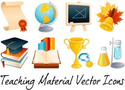 teaching icons collection various colored symbols