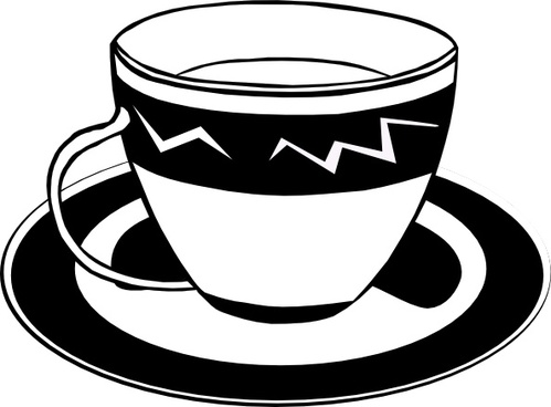 Teacup (b And W) clip art