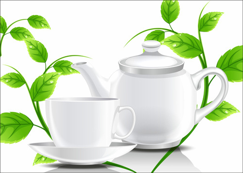 teacup teapot and green leaves background vector