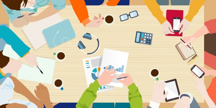 team meeting background table stationery gathering people icons