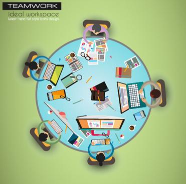 team teamwork business template vector set