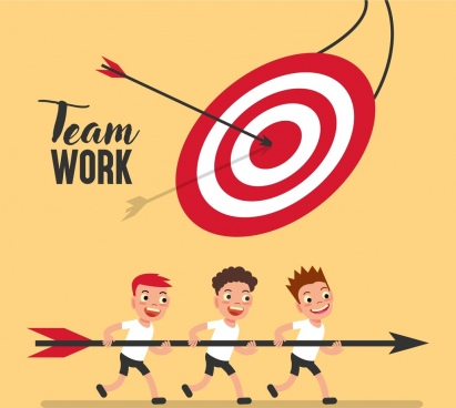 team work background boys arrow target icons decor