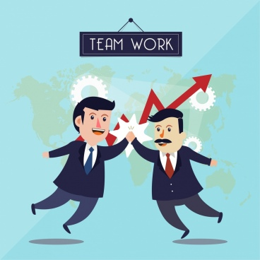 team work background colleagues gears arrow icons
