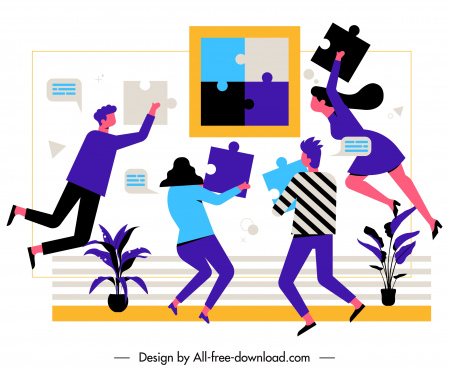 team work background dynamic staffs jigsaw puzzles design