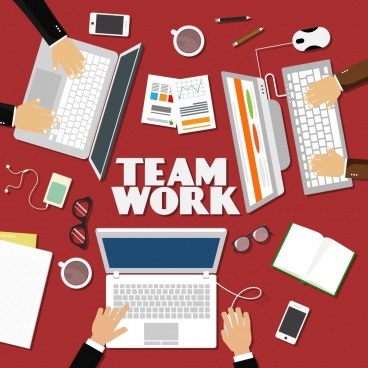 team work background laptops hands devices icons decor