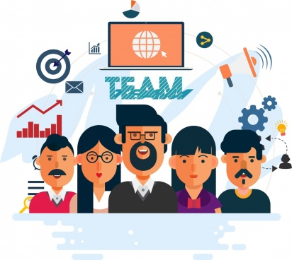 team work banner employee business design elements decor