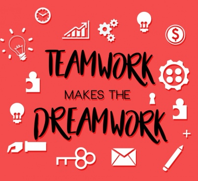 team work banner flat icons decor