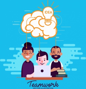 team work concept banner staffs lightbulb cloud icons