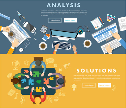 team work vector design with working space illustration