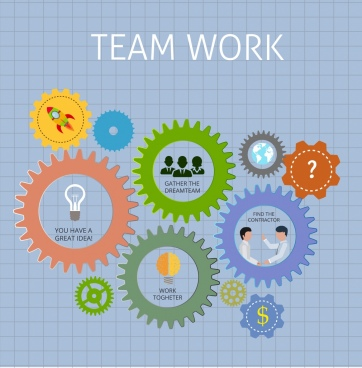 teamwork background colorful gears ui decoration