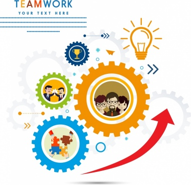 teamwork background gears lightbulb puzzles trophy icons