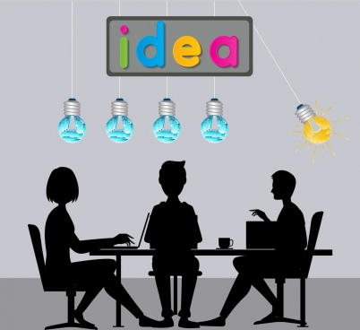 teamwork background staffs silhouette swinging lightbulb decoration