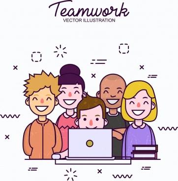 teamwork banner human icons colored cartoon design