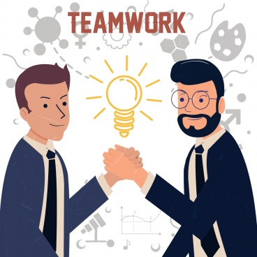 teamwork banner men shaking hands lightbulb icons