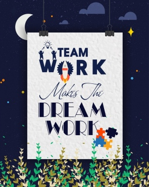 teamwork banner paper clip icons night backdrop