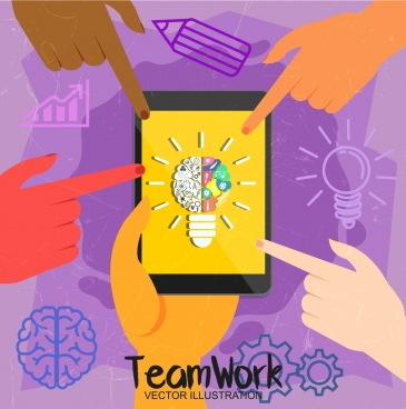 teamwork banner smartphone lightbulb hands icons decoration