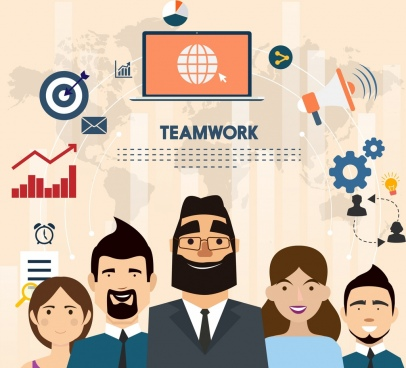 teamwork banner staffs business symbols icons