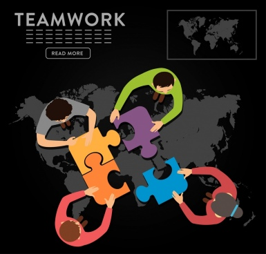 teamwork banner staffs jigsaw puzzle map icons