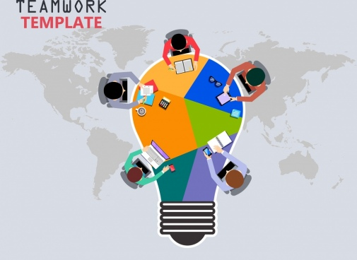 teamwork banner working human lightbulb map icons