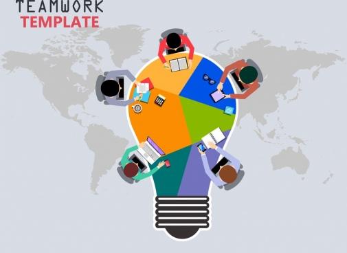 teamwork banner working human lightbulb map icons