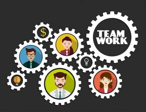 teamwork concept background employee avatars gear icons