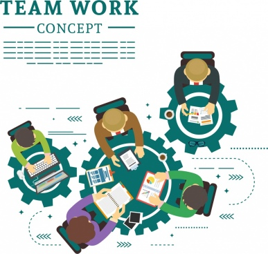 teamwork concept banner working staffs gears tables icons