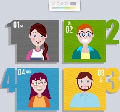 teamwork infographic human avatars multicolored squares isolation