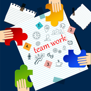 teamwork infographic illustration on hand drawn sheet