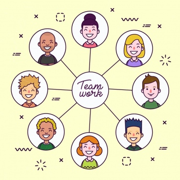 teamwork inforgraphic avatar icons circle isolation
