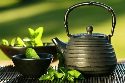 teapot cup mint leaves stock photo