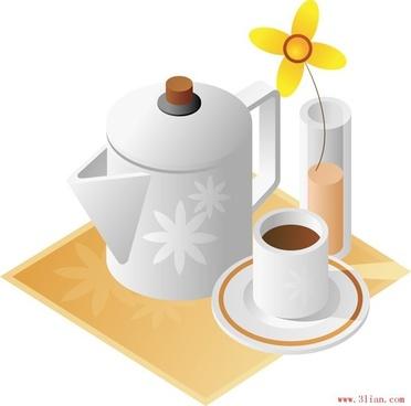 teapot cup vector