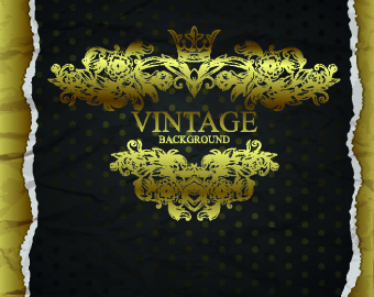 tear paper and vintage golden background vector
