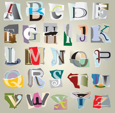 tear paper font vector set