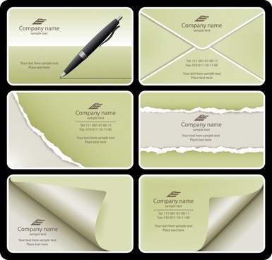 name card templates envelope curled ragged paper decor