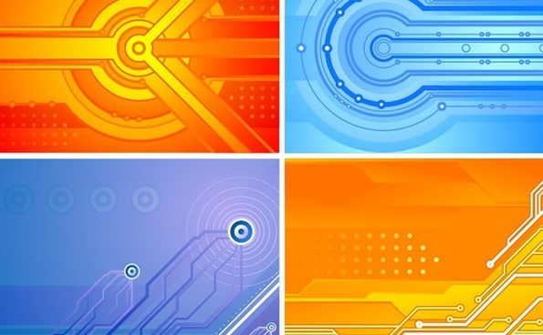 abstract background sets orange blue modern design