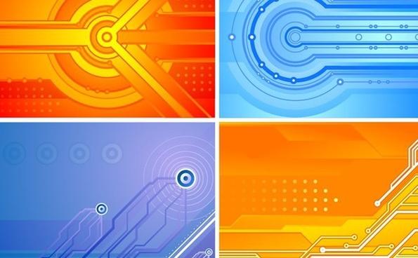 abstract background sets orange blue modern design