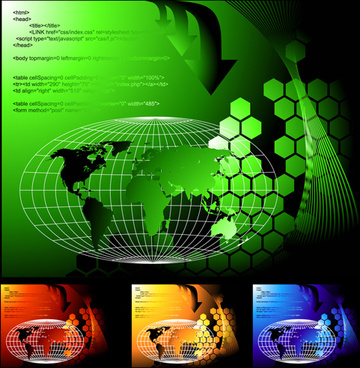 tech earth with web code vector background