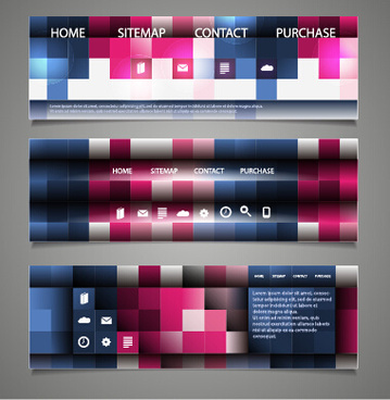 tech elements web banners vector set