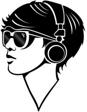 techno girl vector image