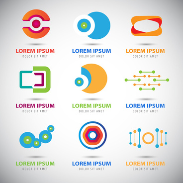 techno logo sets with abstract illustration