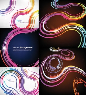 technology background templates sparkling curved lines decor