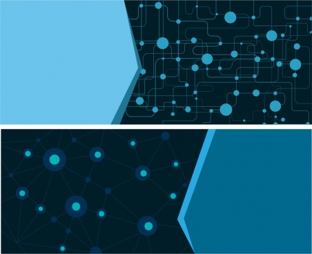 technology background sets blue spots connection decoration
